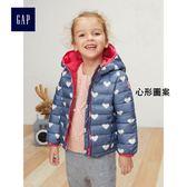 Gap女嬰幼童 直筒印花長袖鋪棉夾克 329395-心形圖案