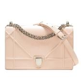 Dior 迪奧 裸粉色牛皮銀釦肩背包 Diorama Flap Bag【二手名牌BRAND OFF】