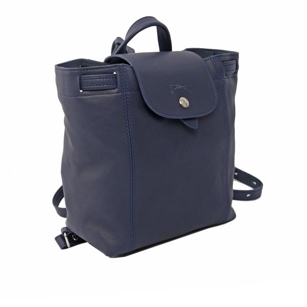 【LONGCHAMP】LE PLIAGE CUIR小羊皮後背包(XS)(海軍藍) 1306737556