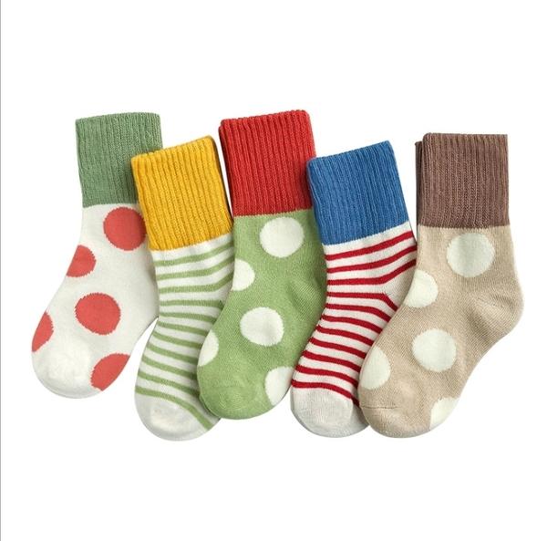 (5雙一組) 圓點條紋拼接短襪 橘魔法 現貨 男童 女童 襪子 短襪 兒童襪子 兒童