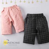 英倫格紋單口袋棉質短褲(250381)★水娃娃時尚童裝★