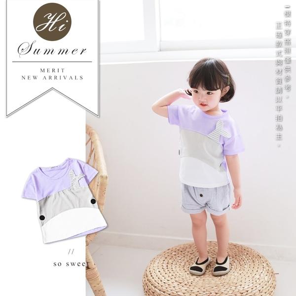 可愛大鯨魚嫩紫色短T 女童 棉質 春夏 短袖 上衣 T恤