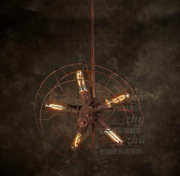 設計師美術精品館北歐宜家美式鄉村客廳書房臥室鐵藝風扇吊燈 現代裝飾吊燈手工繡