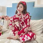日式和服公主風睡衣女春秋季純棉長袖甜美可愛寬鬆冬天家居服套裝