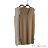韓版純色V領中長款針織背心馬甲女裝氣質寬鬆套頭毛衣打底連身裙 極速出貨