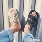 港風夏季新款chic學生魔術貼沙灘涼鞋韓版男士防滑一字透氣拖鞋潮 Cocoa