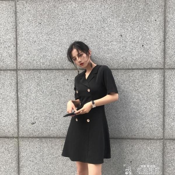 短袖洋裝港味復古chic赫本小黑裙冷淡風蓬蓬連身裙女很仙的法國小眾桔梗裙  夏季上新