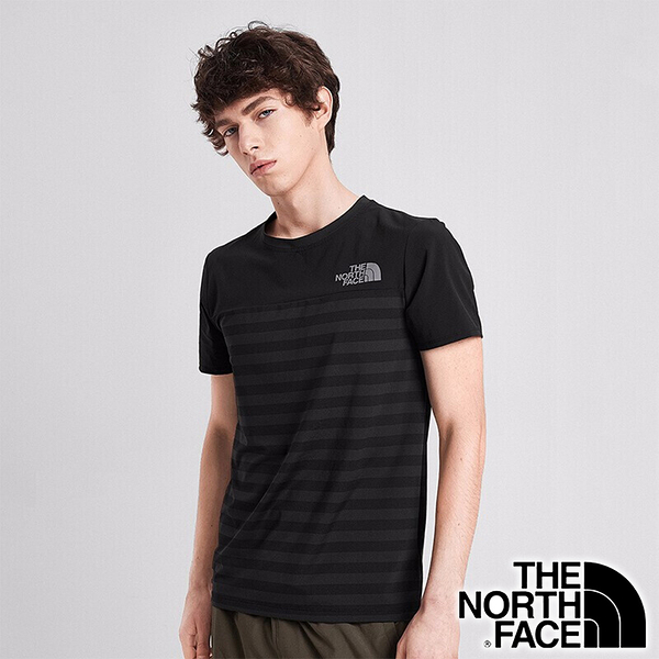 【THE NORTH FACE 美國】男 快乾圓領短袖 T恤『條紋黑』NF0A498G 戶外 登山 時尚 休閒
