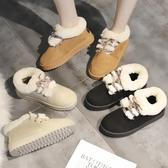 2019秋冬新款學生棉鞋女百搭厚底防滑短靴子加絨面包毛球雪地靴女 滿天星