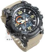 SKMEI時刻美 大錶面 潮男時尚腕錶 男錶 雙顯示 防水手錶 電子錶 運動錶 夜光 卡其色 SK1283卡