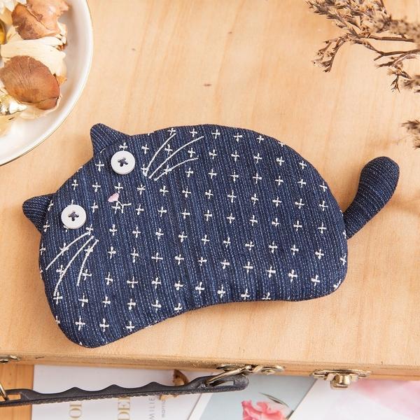 Kiro貓‧藍貓 丹寧牛仔 造型 刺繡 拉鍊 零錢包/卡片收納包 【820138】