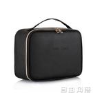 2020新款化妝包女大容量旅行手提簡約便攜黑色PU網紅化妝品收納包 自由角落