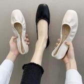 樂福鞋 奶奶鞋春秋平底方頭樂福鞋兩穿一腳蹬懶人搭豆豆鞋淺口單鞋女 韓流時裳