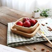 日式方形橡膠木碟 實木點心碟子 堅果盤