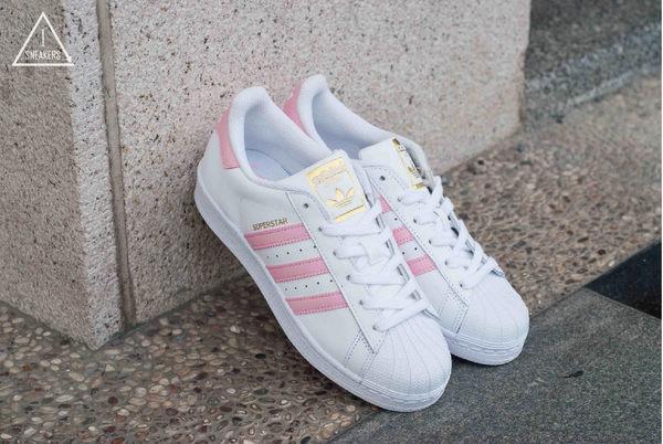 ISNEAKERS ADIDAS ORIGINALS SUPERSTAR S81019 全白粉紅金標 大童鞋 女鞋