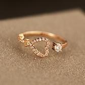 戒指 玫瑰金純銀 鑲鑽-柔美心形生日情人節禮物女飾品73by20[時尚巴黎]