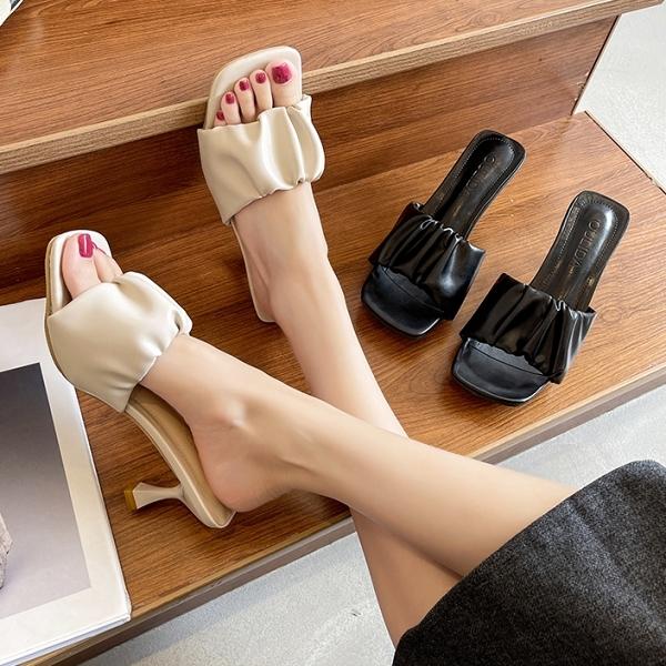 方頭鞋.法式優雅素色花苞一字高跟拖鞋.白鳥麗子