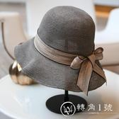 韓版夏季遮陽帽絲帶裝飾漁夫帽可折疊遮陽沙灘帽子休閑百搭草帽