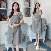 孕婦裙子春季懷孕期中長款棉麻時尚款短袖孕婦夏裝連身裙 小確幸生活館