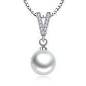 飾品韓版時尚鋯石V字形狀海洋珍珠 珍珠項鍊女吊墜《小師妹》ps135