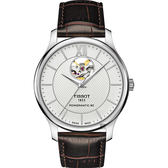 TISSOT天梭 Tradition 開芯80動力儲存機械錶-銀x咖啡/40mm T0639071603800