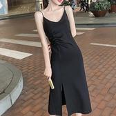 性感V領吊帶洋裝女長款春夏顯瘦氣質打底裙內搭小黑裙-Milano米蘭