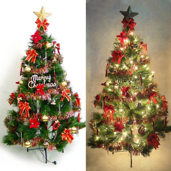台灣製7呎/ 7尺(210cm)特級綠松針葉聖誕樹 (+紅金色系配件組)(+100燈鎢絲樹燈3串) (本島免運費)