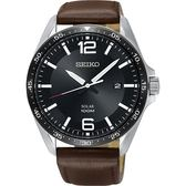 SEIKO精工 SOLAR 太陽能潮流手錶-黑x咖啡/42mm V157-0CP0D(SNE487P1)