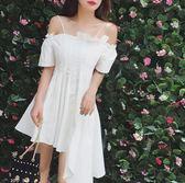 雙十二狂歡購2018夏新中長款一字領露肩甜美小禮服不規則白色吊帶連衣裙女【奇貨居】