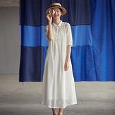 亞麻洋裝-五分袖長款翻領襯衫裙輕薄女連身裙2色74ba30【巴黎精品】