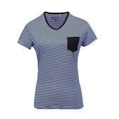 PolarStar 女 排汗快乾條紋T恤『藍』P17138 吸濕排汗透氣T-shirt短袖運動服瑜珈休閒服短袖透氣運動服