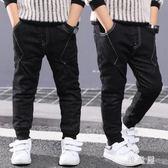 男童牛仔褲冬裝褲子新款兒童長褲中大童加絨加厚束腳修身牛仔褲 QG17113『優童屋』