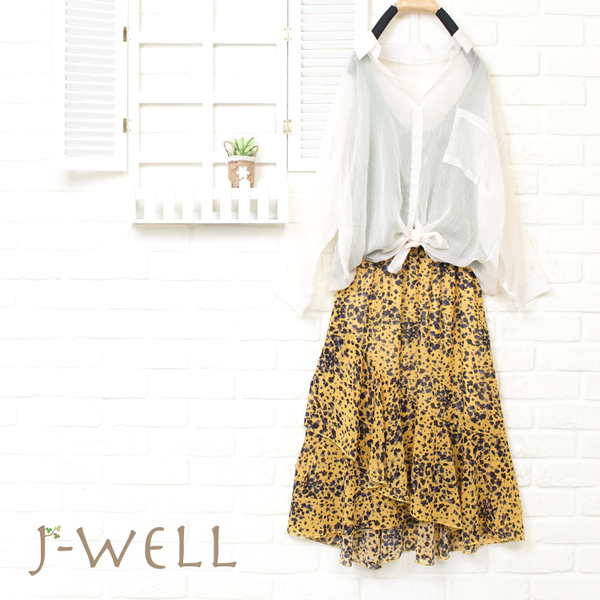J-WELL 雪紡輕盈感短襯衫背心長裙三件組(組合913 8J1491米+8J1479綠+8J1449黃)