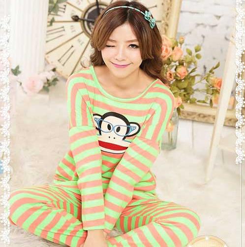 眼鏡小猴 棉質兩件式睡衣 (綠色)