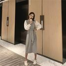 VK精品服飾 韓國風假兩件圓領腰帶收腰拼接長裙長袖洋裝