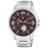 CITIZEN 丈量世界光動能三環時尚腕錶(鋼帶-咖啡銀)