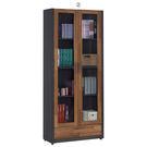 【森可家居】雷恩2.7尺雙色長玻下抽書櫃(單只-編號2)  7JF362-3