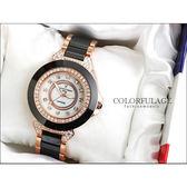 柒彩年代˙Valentino范倫鐵諾 名媛必備珍珠貝面爪鑲方晶鋯石精密陶瓷手錶腕錶【NE744】單支
