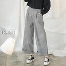 限量現貨★PUFII-褲子 單釦格紋長寬...