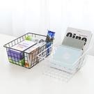 日式鐵藝收納籃沐浴籃長方形鐵藝零食筐桌面雜物書籍收納筐儲物筐