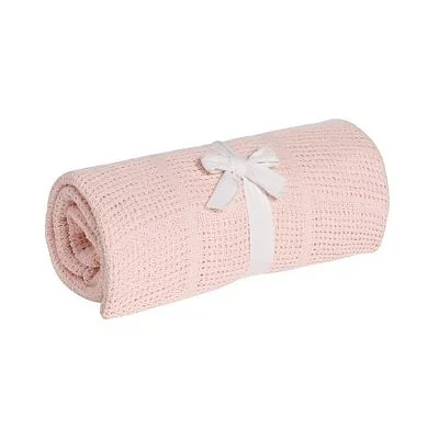 英國 mothercare 中大床棉毯/洞洞毯-粉色