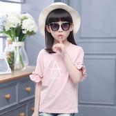 女童短袖T恤2018新款7-9-11周歲純棉韓版上衣LJ4514『黑色妹妹』