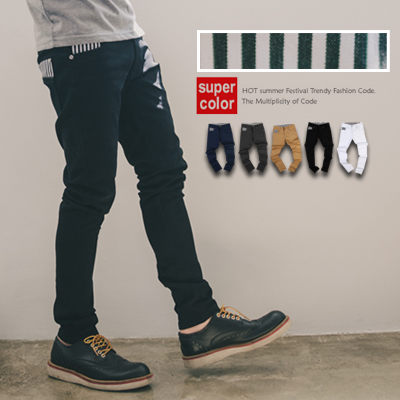 英倫風直條紋造型口袋窄管休閒褲【N9154J】