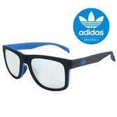 【adidas 愛迪達】潮流三葉草LOGO方框太陽眼鏡/運動眼鏡#黑藍框-水銀鏡面(000009027)