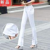 微喇叭褲長褲秋裝糖果彩色韓版修身牛仔褲女彈力顯瘦大碼褲子