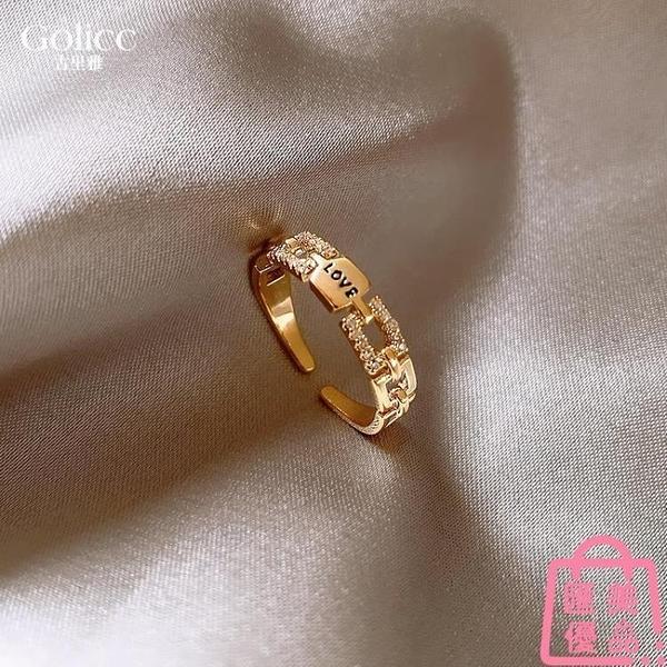 字母戒指女潮設計時尚個性輕奢高級感食指環開口戒【匯美優品】