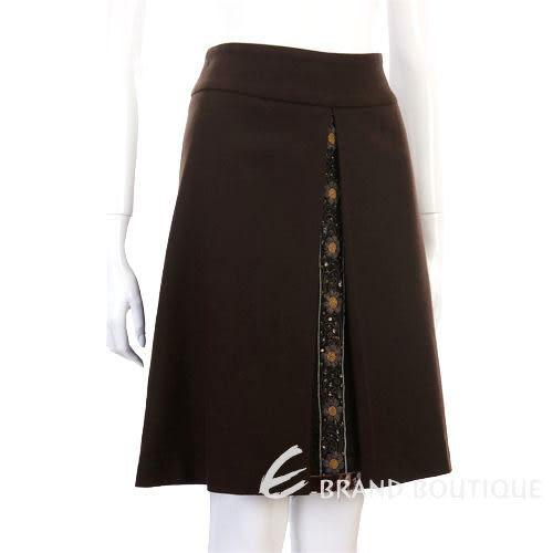 BLANCS MANTEAUX 咖啡色繡花點綴及膝裙 0520354-07
