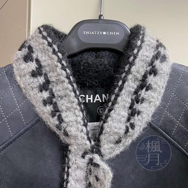 BRAND楓月 CHANEL 香奈兒 07A 黑羊皮駝毛長版外套 #38 皮衣 風衣 大衣 單排扣 毛呢飾邊 菱格紋