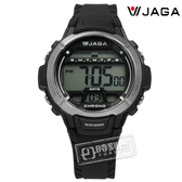 JAGA 捷卡 / M1048A-A / 酷黑獨立個性電子橡膠腕錶 黑色 38mm
