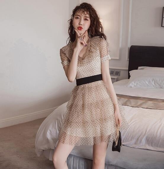 洋裝V領裙子甜美S-XL新款氣質egg法式桔梗裙絲絨網紗波點連身裙T235-2286.一號公館